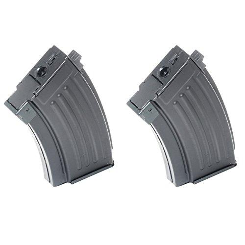 Airsoft Shopping Mall  1 Airsoft Shooting Gear 2pcs 230rd Mag Short Type Hi-Cap Magazine For AK-Series AEG Black