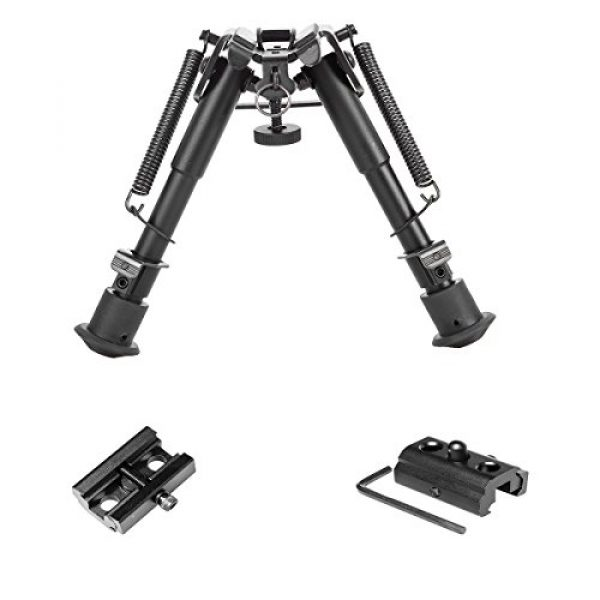 Gazelle Trading Airsoft Gun Barrel Bipod 3 Gazelle Trading Adjustable 6-9״ Rifle Bipod Sling Mount Spring Sniper Tactical with Adapter Monopods