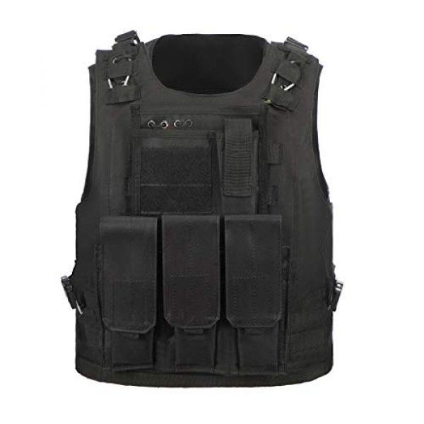 Jipemtra Airsoft Tactical Vest 4 Jipemtra Tactical MOLLE Airsoft Vest Adjustable Paintball Combat Training Vest Detachable (Black)