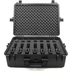 "CASEMATIX Pistol Case 1 CASEMATIX 23"" Customizable 7 Pistol Multiple Pistol Case - Waterproof & Shockproof Hard Gun Cases for Pistols, Magazines and Accessories - Multi Gun Case for Pistols with Two Layers of 2"" Thick Foam"