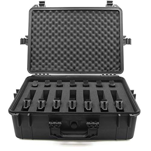 """CASEMATIX Pistol Case 1 CASEMATIX 23"""" Customizable 7 Pistol Multiple Pistol Case - Waterproof & Shockproof Hard Gun Cases for Pistols, Magazines and Accessories - Multi Gun Case for Pistols with Two Layers of 2"""" Thick Foam"""