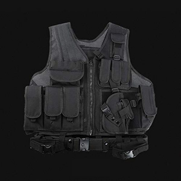 FUZHEN Airsoft Tactical Vest 5 FUZHEN Tactical Vest Outdoor,Breathable Combat Training Vest Adjustable,with 4 Deluxe Adjustable Rifle Mag Pouches Tactical Vest