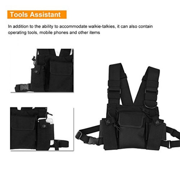 Hakeeta Airsoft Tactical Vest 4 Hakeeta Walkie-Talkie Chest Bag, Nylon Chest Front Pack,Chest Harness.Universal Adjustable Bag with Three-Ring Adjustment Strap System for Rescue, Police, Duty and Workshopps