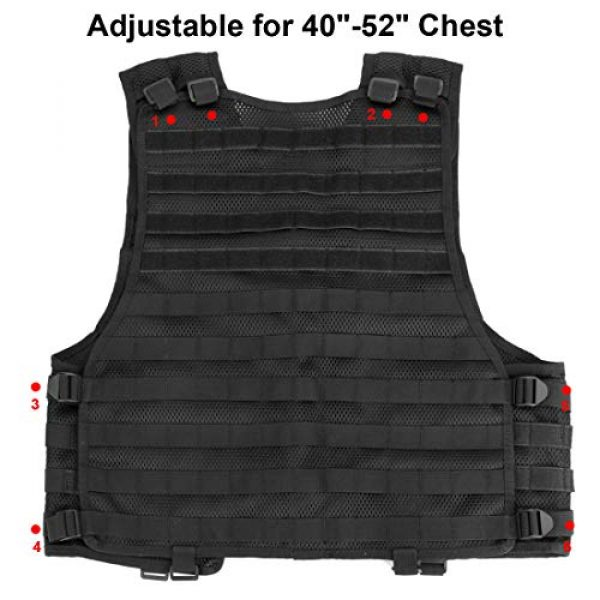 Chief Tac Airsoft Tactical Vest 5 Chief Tac Military Tactical Molle Vest Mesh Light Army Airsoft Paintball Utility Vest, Breathable Lightweight Hunting Fishing Vest for Men Women