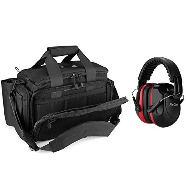 ProCase Pistol Case 1 ProCase Tactical Gun Range Bag Pistol Shooting Duffle Bag Bundle with Noise Reduction Safety Ear Muffs Headset NRR 28dB Earmuffs for Ear Hearing Protection