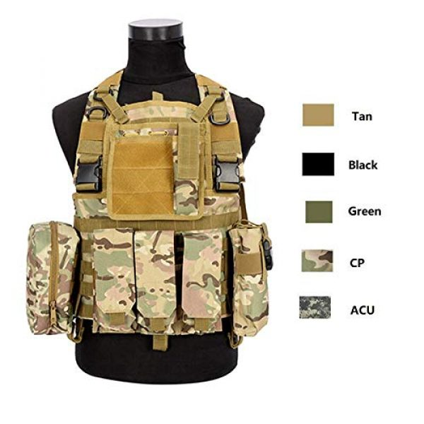 BGJ Airsoft Tactical Vest 7 CP Camo Vest RRV Molle Airsoft Tactical Vest Military Combat Assault Chest Rig Paintball Police Body Armor Hunting Vest