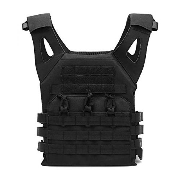 Mlida Airsoft Tactical Vest 2 Mlida Tactical Vest, Modular Lightweight Durable Tactical Gear, Adjustable Ultra-Light Breathable Protection Vest for Outdoor Paintball Training - Black
