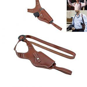 PG Airsoft Gun Holster 1 PG Vertical Shoulder Holster Brown Leather Cross Harness Gun Holster Right Hand Hunting Pistol Bag Fits Medium Frame Auto Handguns