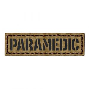 Tactical Freaky Airsoft Morale Patch 1 IR Tan Paramedic 1x3.5 Name Tape EMS EMT Medic Coyote Subdued Tactical Hook&Loop Patch
