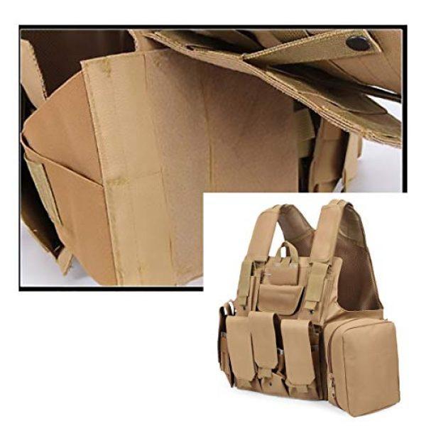 WEQ Airsoft Tactical Vest 2 WEQ Tactical Molle Airsoft Vest Paintball Combat Training Vest Adjustable (Color : Beige)