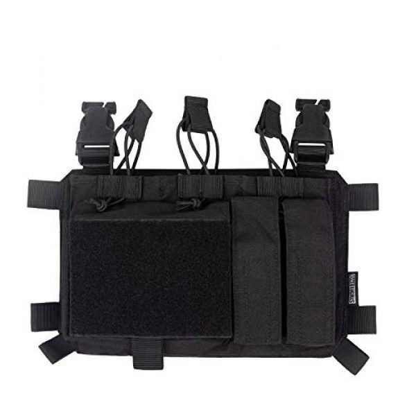 OneTigris Airsoft Tactical Vest 6 OneTigris Chest Rig Panel & Triple Mag Pouch with Tool Pouch (Black)