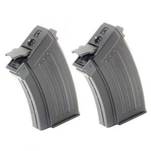 Generica Airsoft Gun Magazine 1 Airsoft Spare Parts 2pcs 230rd Mag Short Type Hi-Cap Magazine for AK-Series AEG Black