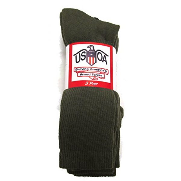 USOA Combat Boot Sock 1 Men's Anti-Microbial Military Boot Socks Olive DRAB - 3 Pair