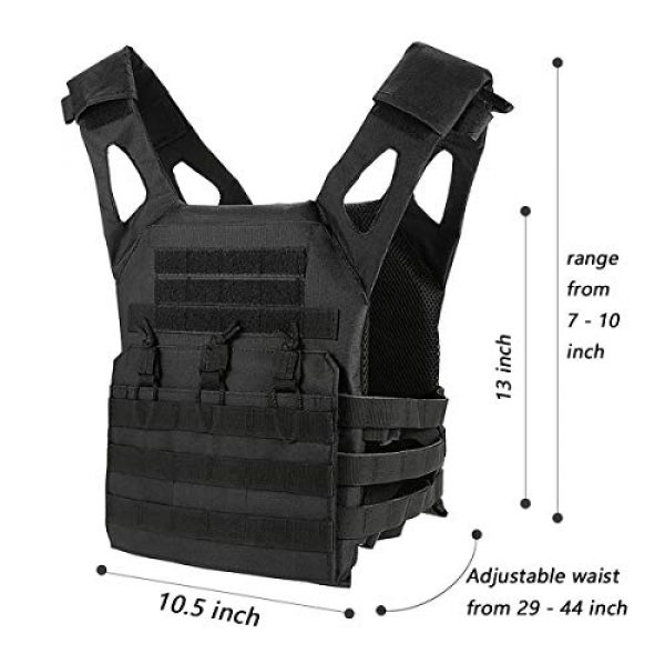 Mlida Airsoft Tactical Vest 3 Mlida Tactical Vest, Modular Lightweight Durable Tactical Gear, Adjustable Ultra-Light Breathable Protection Vest for Outdoor Paintball Training - Black
