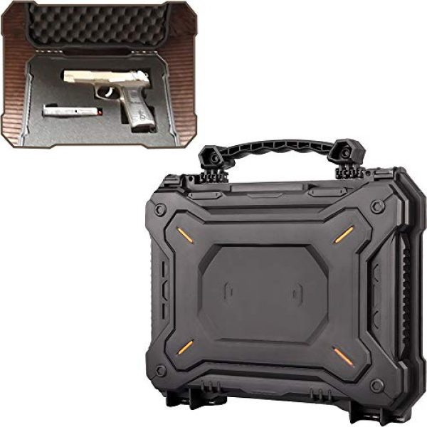 LIVANS Pistol Case 1 LIVANS Tactical Hard Travel Storage Carrying Case, Camera Carrying Cases Lockable Pistol Case Firearms Holder Weatherproof Shockproof Hard Case IP67 Level with Pick and Pluck Foam for Telescope