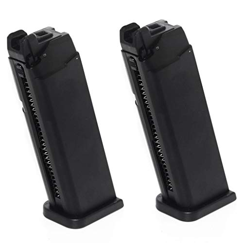 Generica  1 Generica Airsoft Spare Parts Army 2pcs 25rd Mag Magazine for Army R17 / Tokyo Marui G17 GBB Pistol Black