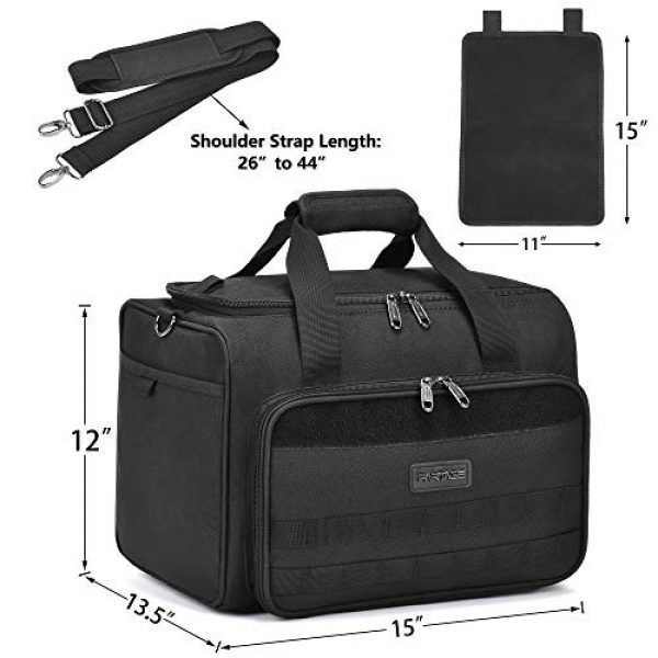 Partage Pistol Case 5 Partage Gun Range Bag Deluxe Pistol Shooting Range Duffle Bags with Velvet Cushion -Black