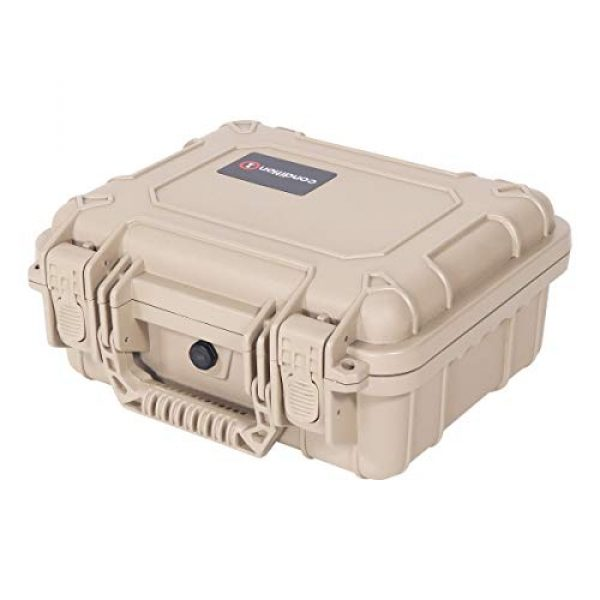 """Condition 1 Pistol Case 5 Condition 1 Premium Dual Pistol Hard Case with Foam, Tan   9"""" x 7"""" x 4""""   Waterproof Case for Handgun and Mags   Pick and Pluck Foam   TSA Ready"""