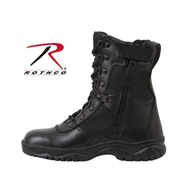 Rothco Combat Boot 2 Forced Entry 5053 Black Tactical Boots for Police, EMS w/Side Zipper