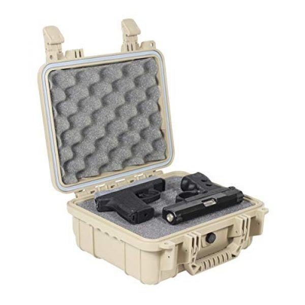 """Condition 1 Pistol Case 1 Condition 1 Premium Dual Pistol Hard Case with Foam, Tan   9"""" x 7"""" x 4""""   Waterproof Case for Handgun and Mags   Pick and Pluck Foam   TSA Ready"""
