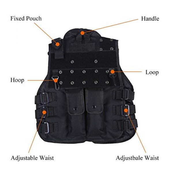 Wbestexercises Airsoft Tactical Vest 5 Wbestexercises Kids Tactical Vest, Children Tactical Molle Vest Outdoor Tactic Military Army Combat Trainning Games 600D Nylon Vest Protective Jacket Vest for Hunting Shooting Play