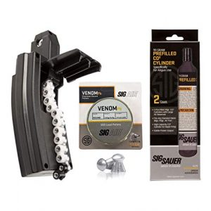 Sig Sauer Air Gun Magazine 1 SIG Sauer MCX/MPX AIR Rifle Magazine 30 Rounds .177 Caliber with Pack of 500 Pellets and Pack of 2 90 Gram CO2 Cylinders Bundle (Match (Flat))