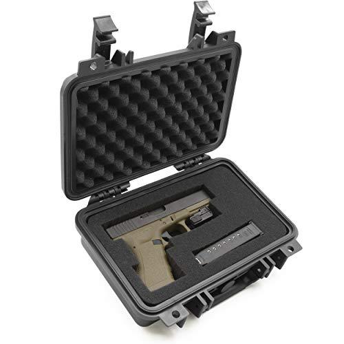 CASEMATIX Pistol Case 1 CASEMATIX Hard Gun Case for Pistols - Waterproof & Shockproof Gun Cases for Pistols, Compact 9mm Gun Case for Carrying Handgun with Scope and Accessories