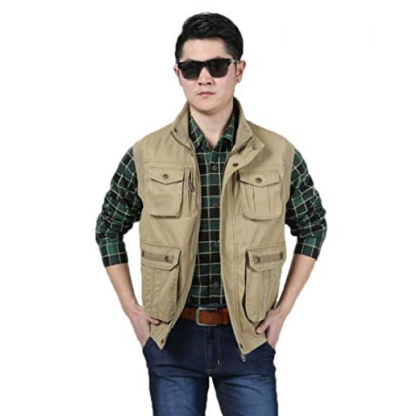 DAFREW Airsoft Tactical Vest 3 DAFREW Men's Vest Outdoor Leisure Vest Cotton Sleeveless Jacket Autumn and Winter Warm Multi-Pocket Vest Vest (Color : Khaki, Size : XL)