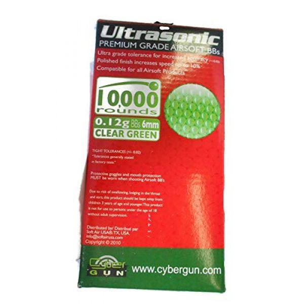 Ultrasonic Airsoft BB 3 Ultrasonic Premuim Grade Airsoft BBs, Clear Green 0.12g/6mm, 10,000 Count