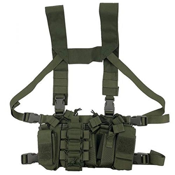 Shefure Airsoft Tactical Vest 3 Shefure Outdoor Hunting Vest Tactical MOLLE Triple Open-Top Mag Pouch Fast AK AR M4 FAMAS Mag Pouch with Shaped Suspender Shoulder Strap