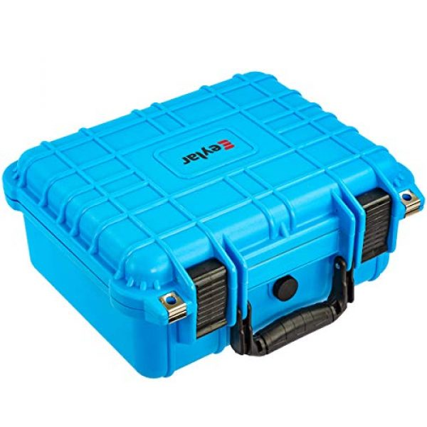 Eylar Pistol Case 3 Eylar Tactical Hard Gun Case Water & Shock Proof with Foam 13.37 inch 11.62 inch 6 inch Light Blue