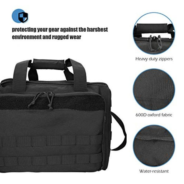 ProCase Pistol Case 5 ProCase Tactical Gun Range Bag for Handguns, Pistols and Ammo, Large Shooting Range Duffle Bags for Magazine Shooting Gear Accessories for Hunting Shooting Range Sport Competetion -Black