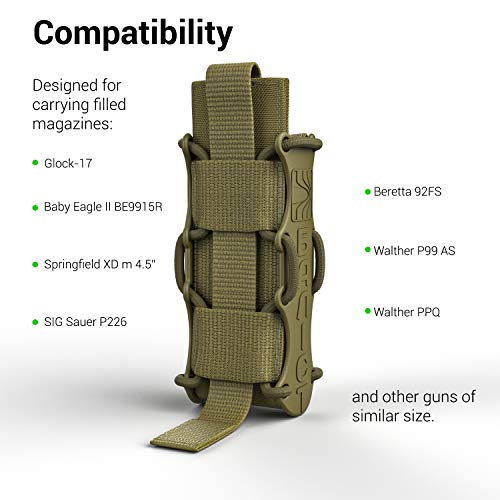 ATAIRSOFT  3 ATAIRSOFT KOLCHAN Fast MAG Tactical Top Open Single 9mm and 7.62mm Pistol Magazine Holder Very Durable of 1000 D Cordura fastmag Holster and MOLLE Compatible Airsoft Hunting Shooting