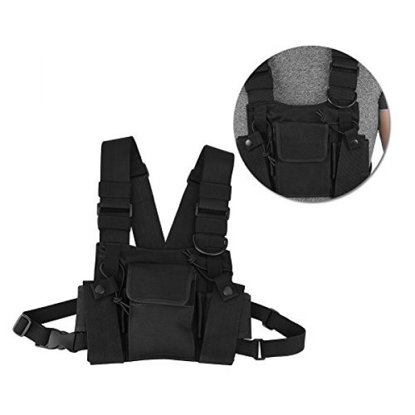 Hakeeta Airsoft Tactical Vest 6 Hakeeta Walkie-Talkie Chest Bag, Nylon Chest Front Pack,Chest Harness.Universal Adjustable Bag with Three-Ring Adjustment Strap System for Rescue, Police, Duty and Workshopps