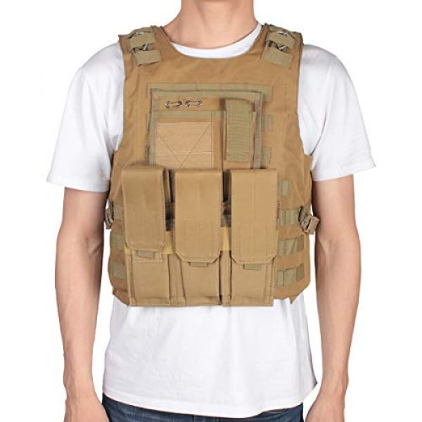 KIDYBELL Airsoft Tactical Vest 2 KIDYBELL Khaki Adjustable Airsoft Vest Lightweight Oxford Cloth Tactical Training Vest is Suitable for Outdoor Hunting Army Fan Combat Training Airsoft and Other Outdoor Sports
