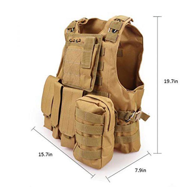 JFFLYIT Airsoft Tactical Vest 4 JFFLYIT Outdoor Sports Tactical Vest Wear Resistant Durable Combat Training Vest Breathable Adjustable CS Vest with Bag Khaki