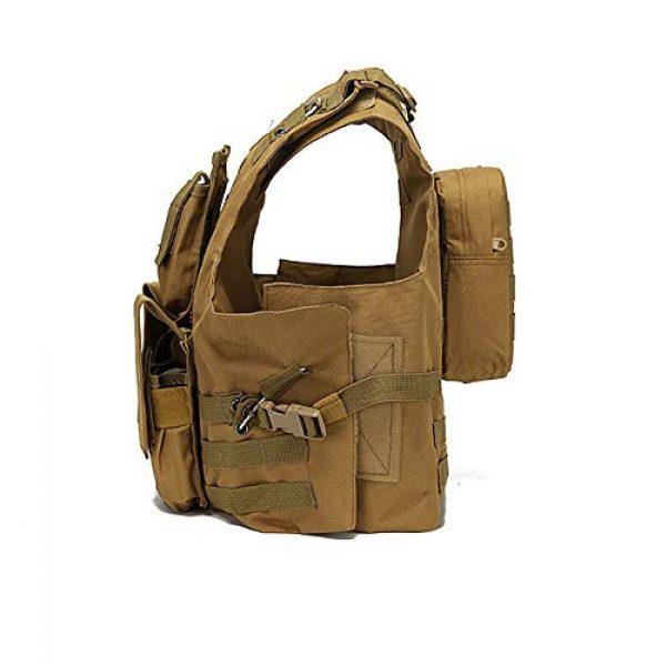 JFFLYIT Airsoft Tactical Vest 3 JFFLYIT Outdoor Sports Tactical Vest Wear Resistant Durable Combat Training Vest Breathable Adjustable CS Vest with Bag Khaki