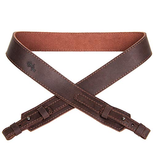 Free2Buy  6 Free2Buy Rifle Sling Gun Shoulder Genuine Leather Adjustable Belt for Hunting Outdoor Tactical Shotgun Sling Strap Shotgun Embossed