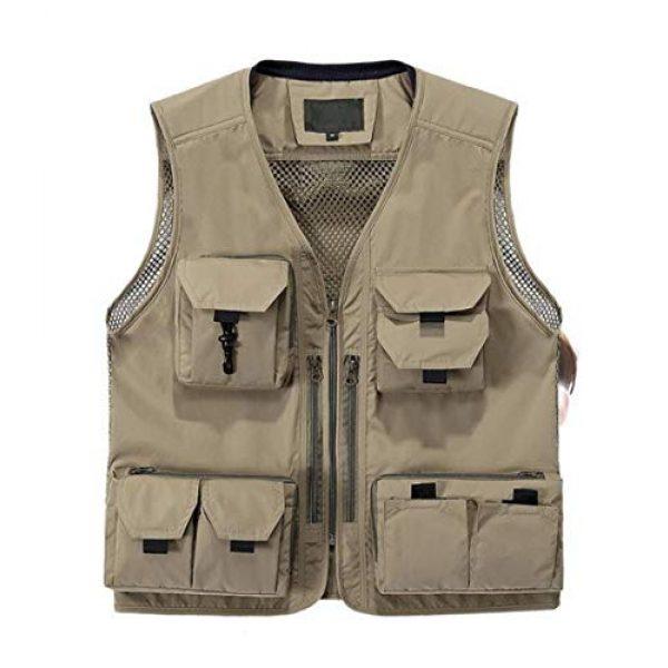 DAFREW Airsoft Tactical Vest 1 DAFREW Quick-Drying Vest Men's Summer Leisure Vest Outdoor Photography Vest Thin Section Sleeveless Shirt Fishing Vest (Color : Khaki, Size : L)