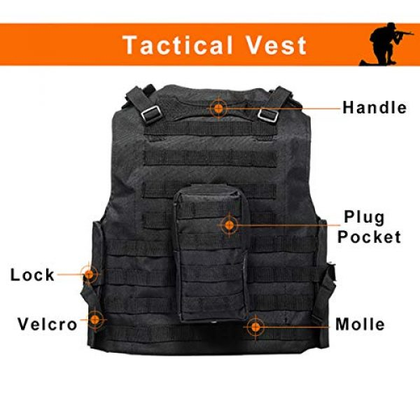KIDYBELL Airsoft Tactical Vest 6 KIDYBELL Black Adjustable Airsoft Vest Lightweight Oxford Cloth Tactical Training Vest is Suitable for Outdoor Hunting Army Fan Combat Training Airsoft and Other Outdoor Sports