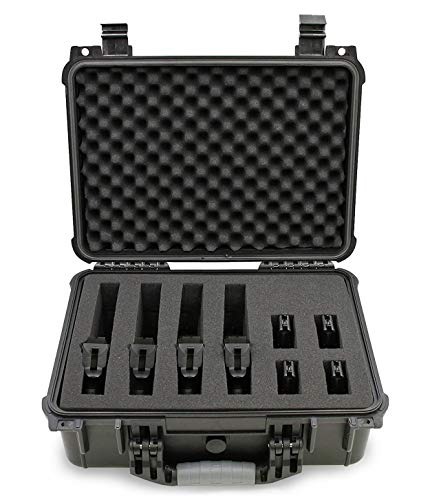 "CASEMATIX Pistol Case 1 CASEMATIX 16"" Customizable 4 Pistol Multiple Pistol Case - Waterproof & Shockproof Hard Gun Cases for Pistols, Magazines and Accessories - Multi Gun Case for Pistols with Two Layers of 2"" Thick Foam"