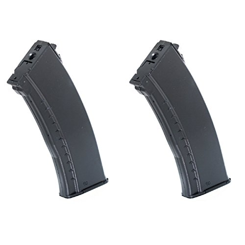 Airsoft Shopping Mall  1 Airsoft Shooting Gear 2pcs 600rd Winding Hi-Cap Mag Magazine For AK74 Series AEG Black