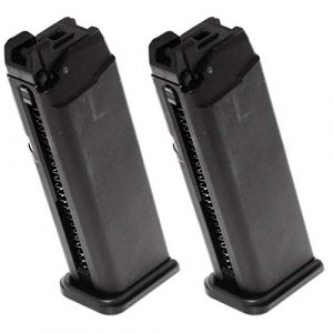 Generica Airsoft Gun Magazine 1 Airsoft Spare Parts 2pcs 25rd Gas Mag Metal Magazine for G17 Series GBB Pistol Black