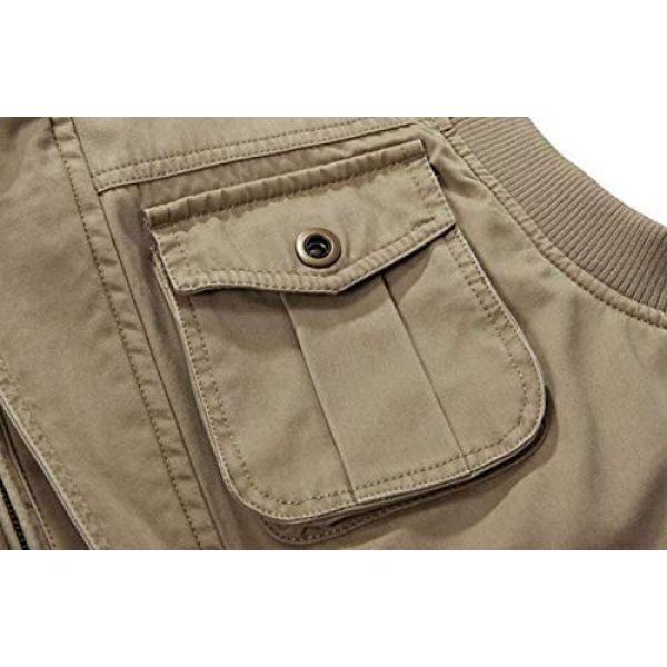 DAFREW Airsoft Tactical Vest 6 DAFREW Men's Vest Outdoor Leisure Vest Cotton Sleeveless Jacket Autumn and Winter Warm Multi-Pocket Vest Vest (Color : Khaki, Size : XL)
