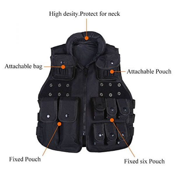 Yosoo Airsoft Tactical Vest 4 Yosoo Kids Tactical Vest, 600D Nylon Children Tactical Molle Vest Protective Jacket Vest Outdoor Military Army Combat Trainning Games Vest for Hunting Shooting Play