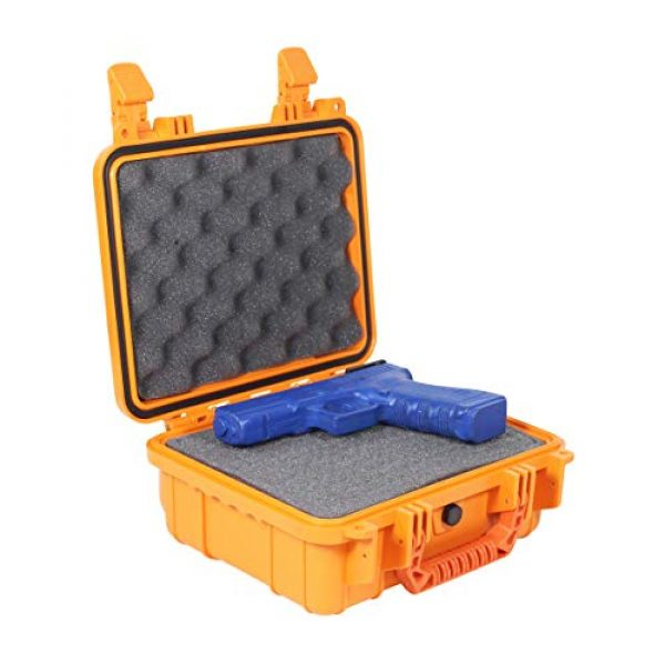 "Condition 1 Pistol Case 3 Condition 1 Premium Dual Pistol Hard Case with Foam, Orange | 9"" x 7"" x 4"" 