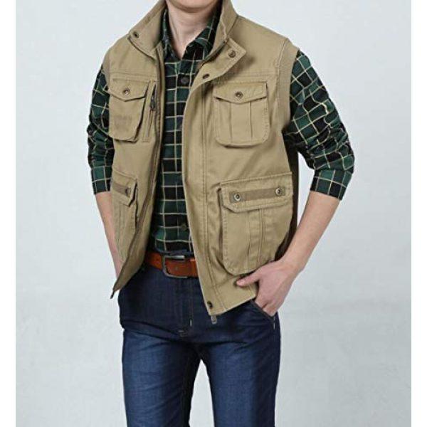 DAFREW Airsoft Tactical Vest 1 DAFREW Men's Vest Outdoor Leisure Vest Cotton Sleeveless Jacket Autumn and Winter Warm Multi-Pocket Vest Vest (Color : Khaki, Size : XL)