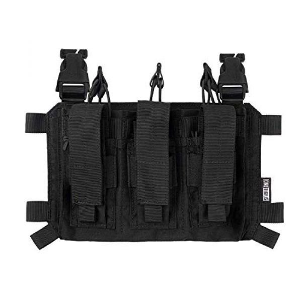 OneTigris Airsoft Tactical Vest 5 OneTigris Mini Chest Rig & Triple Kangaroo Mag Pouch Tactical Placard 02 (Black)