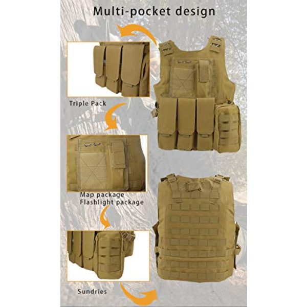 BGJ Airsoft Tactical Vest 4 BGJ Tactical Vest Military Combat Armor Vest Mens Army Airsoft Hunting Vest Adjustable Outdoor CS Paintball Training Protective Vest