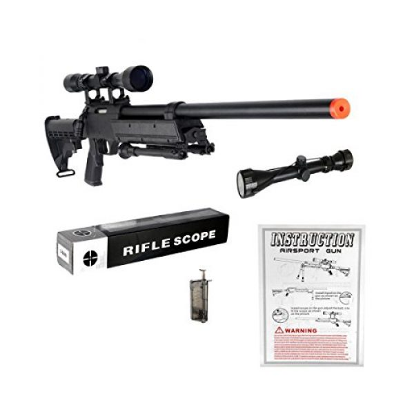 Well Airsoft Rifle 2 Well MB06AB Airsoft Bolt Action Sniper Rifle with Scope & Bipod FPS-460 - Black
